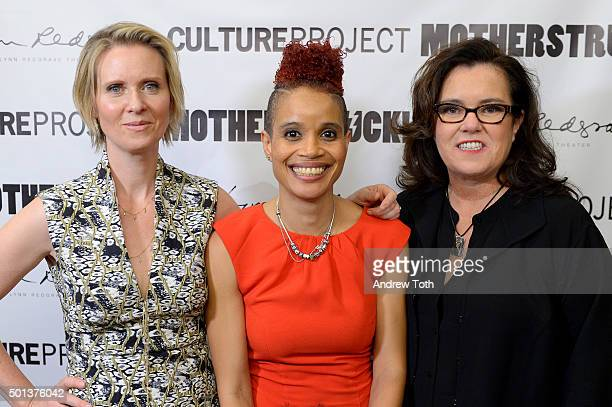 Cynthia Nixon Staceyann Chin and Rosie O'Donnell attend 'MotherStruck' opening night at the Lynn Redgrave Theatre on December 14 2015 in New York City