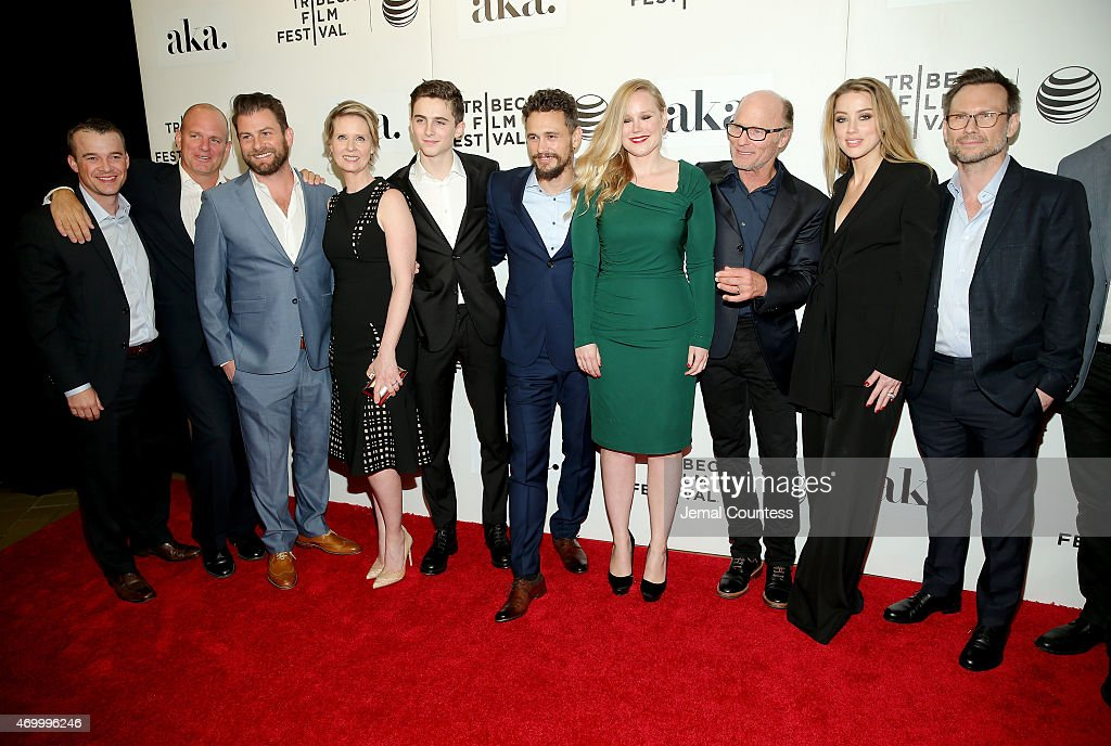 Cynthia Nixon, Timothee Chalamet, James Franco, Pamela Romanowsky, Ed Harris, Amber Heard, Christian Slater and producers attends the premiere of 'The Adderall Diaries' during the 2015 Tribeca Film Festival at BMCC Tribeca PAC on April 16, 2015 in New York City.