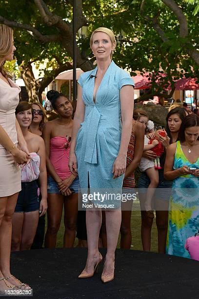 Cynthia Nixon visits 'Extra' at The Grove on October 2 2012 in Los Angeles California