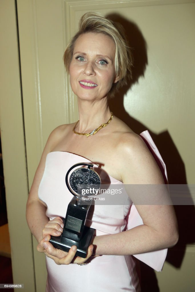 """Cynthia Nixon, winner of the award for Best Featured Actress in a Play for """"The Little Foxes,"""" poses outside the press room during the 2017 Tony Awards at 3 West Club on June 11, 2017 in New York City."""