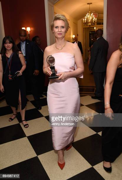 """Cynthia Nixon winner of the award for Best Performance by an Actress in a Featured Role in a Play for """"Lillian Hellman's The Little Foxes"""" backstage..."""