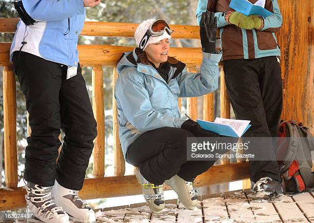 Cynthia Weld came from Minnesota to ski in Colorado and sings a hymn during the Sunday service at the Copper Mountain Community Church at Copper...