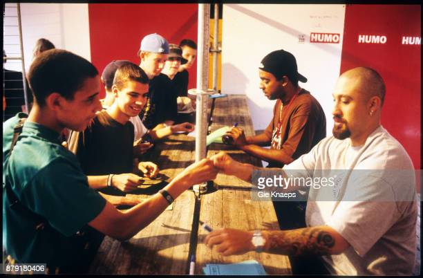 Cypress Hill BReal meeting fans during an autograph signing session Humo magazine performing on stage Pukkelpop Festival Hasselt 27th August 1994
