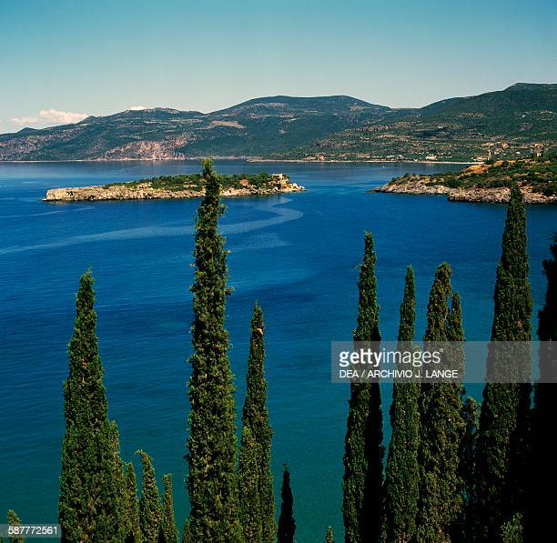 Cypresses and view of on an island off the coast of Kardamili Peloponnese Greece