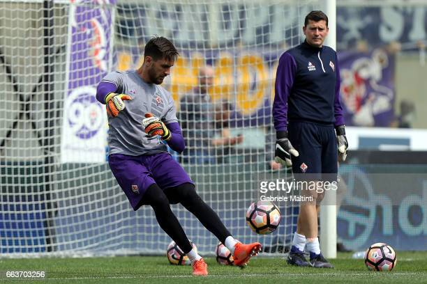 Cyprian Tatarusanu of ACF Fioretina warmsup ahead of the Serie A match between ACF Fiorentina and Bologna FC at Stadio Artemio Franchi on April 2...