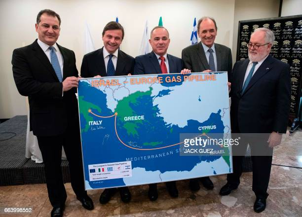 Cypriot Minister of Energy Commerce Industry and Tourism Yiorgos Lakkotrypis Italian Economy Minister Carlo Calenda Israeli Energy Minister Yuval...