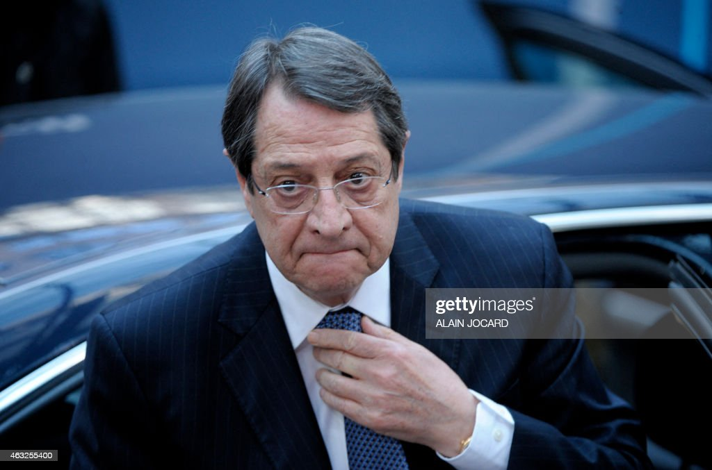 Cypriot President <a gi-track='captionPersonalityLinkClicked' href=/galleries/search?phrase=Nicos+Anastasiades&family=editorial&specificpeople=10113933 ng-click='$event.stopPropagation()'>Nicos Anastasiades</a> arrives ahead of the European Council Summit at the European Union (EU) Headquarters in Brussels on February 12, 2015