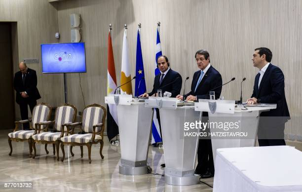 Cypriot President Nicos Anastasiades Greek prime minister Alexis Tsipras and Egyptian President Abdel Fattah alSisi attend a press conference at the...