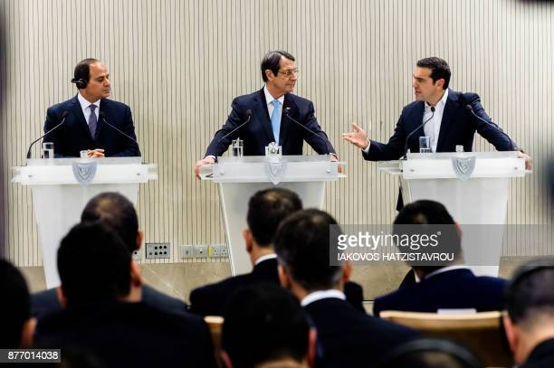 Cypriot President Nicos Anastasiades Greek prime minister Alexis Tsipras and Egyptian President Abdel Fattah alSisi speak during a press conference...