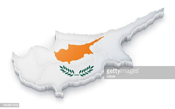Cyprus map with flag