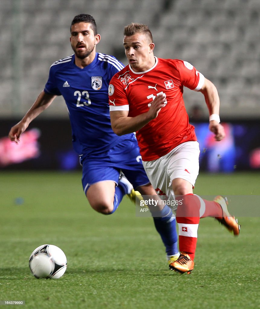 Cyprus' midfielder Marios Nicolaou (L) challenges Switzerland's midfielder Xherdan Shaqiri during the 2014 World Cup European zone group E qualifying football match between Cyprus and Switzerland at GSP Stadium in Nicosia on March 23, 2013. The match ended in a goalless draw.