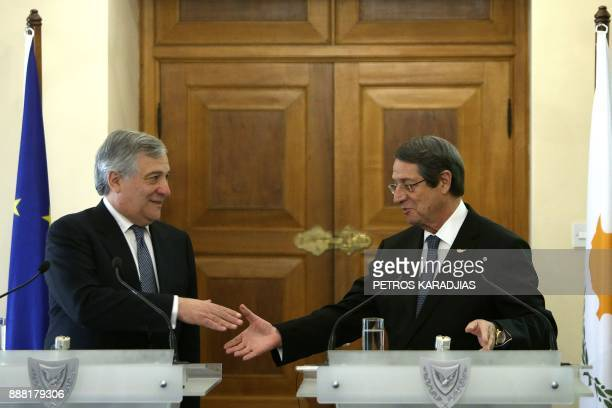 Cyprus President Nicos Anastasiades and European Parliament President Antonio Tajani give a press conference following their meeting at the...