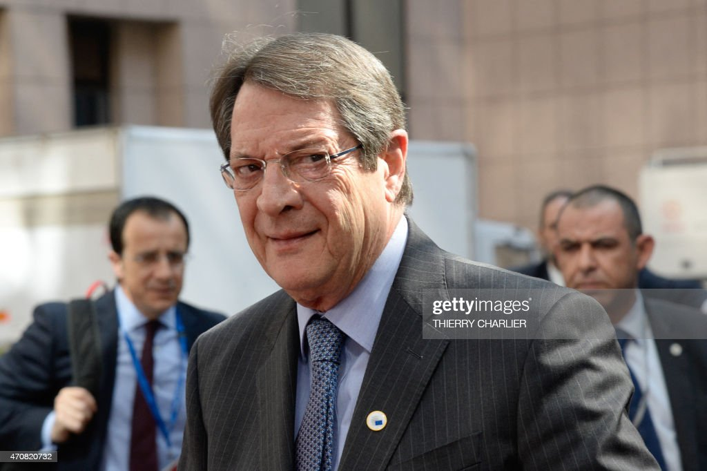 Cyprus' President <a gi-track='captionPersonalityLinkClicked' href=/galleries/search?phrase=Nicos+Anastasiades&family=editorial&specificpeople=10113933 ng-click='$event.stopPropagation()'>Nicos Anastasiades</a> arrives at the European Council headquarters for an extraordinary summit of European leaders to deal with a worsening migration crisis, on April 23, 2015 in Brussels. European leaders gather on April 23 to consider military action, at an extraordinary summit to deal with a worsening migration crisis after a series of deadly shipwrecks in the Mediterranean.