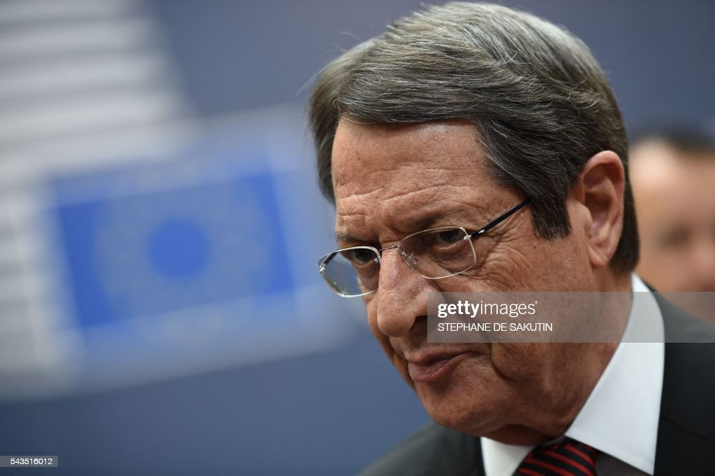 Cyprus' President Nicos Anastasiades arrives for the second day of an EU - Summit at the EU headquarters in Brussels on June 29, 2016. European Union leaders will on June 29, 2016 assess the damage from Britain's decision to leave the bloc and try to prevent further disintegration, as they meet for the first time without a British representative. / AFP / STEPHANE