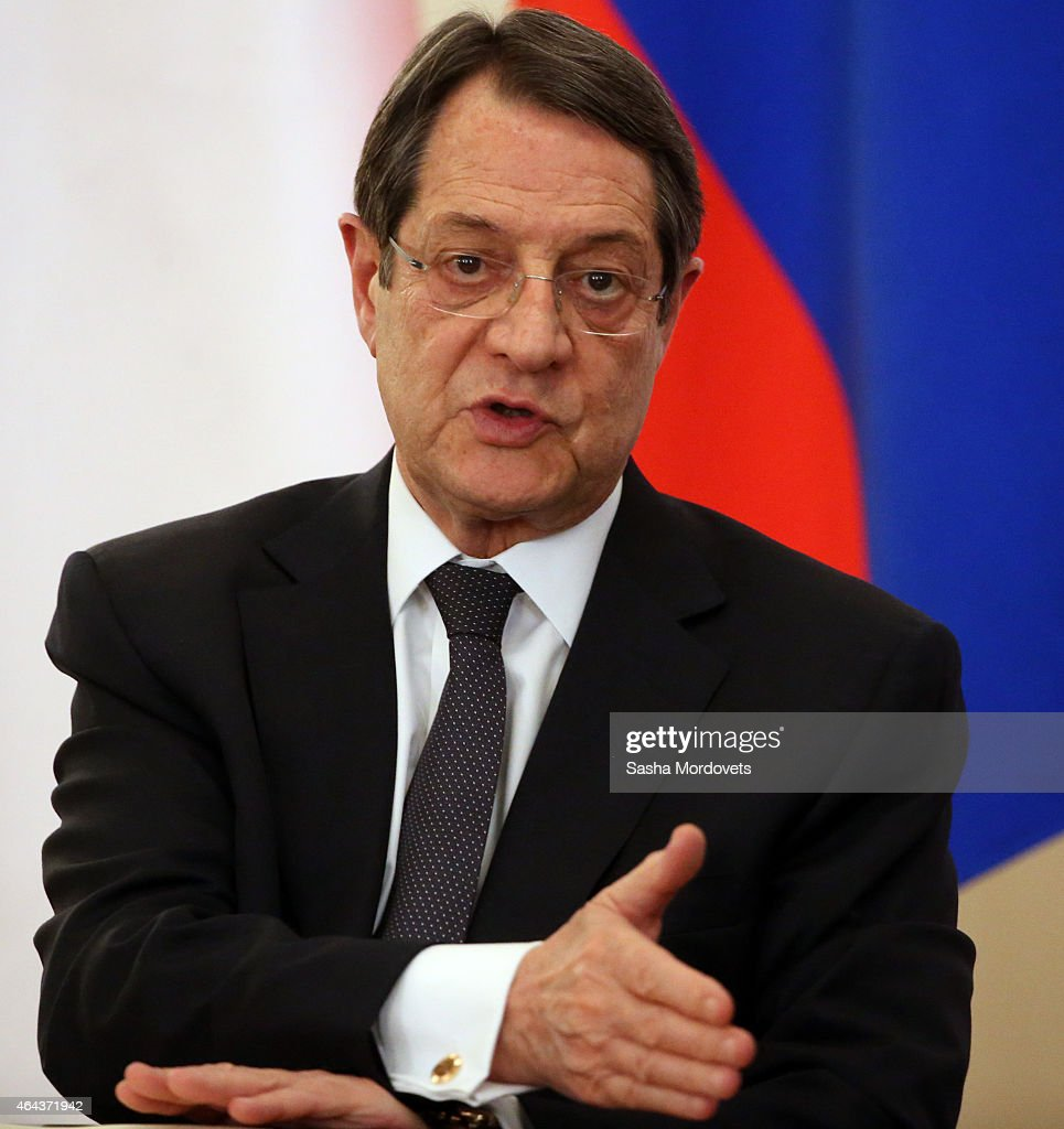 Cyprus President <a gi-track='captionPersonalityLinkClicked' href=/galleries/search?phrase=Nicos+Anastasiades&family=editorial&specificpeople=10113933 ng-click='$event.stopPropagation()'>Nicos Anastasiades</a> during a joint press conference with Russian President Vladimir Putin in Novo Ogaryvo State Residence on February 25, 2015 in Moscow, Russia. During his one-day visit to the country, the Cypriot president signed a military agreement which would allow Russian ships to make port calls in Cyprus.