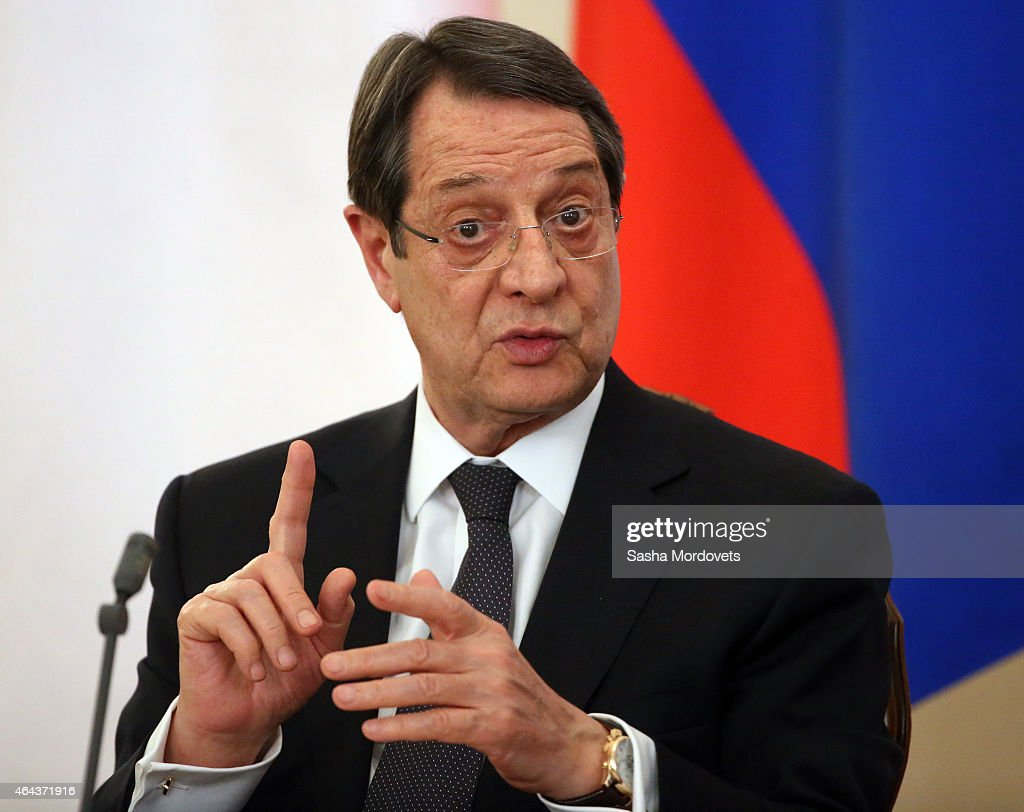 Cyprus President <a gi-track='captionPersonalityLinkClicked' href=/galleries/search?phrase=Nicos+Anastasiades&family=editorial&specificpeople=10113933 ng-click='$event.stopPropagation()'>Nicos Anastasiades</a> speaks during a joint press conference with Russian President Vladimir Putin in Novo Ogaryvo State Residence on February 25, 2015 in Moscow, Russia. During his one-day visit to the country, the Cypriot president signed a military agreement which would allow Russian ships to make port calls in Cyprus.