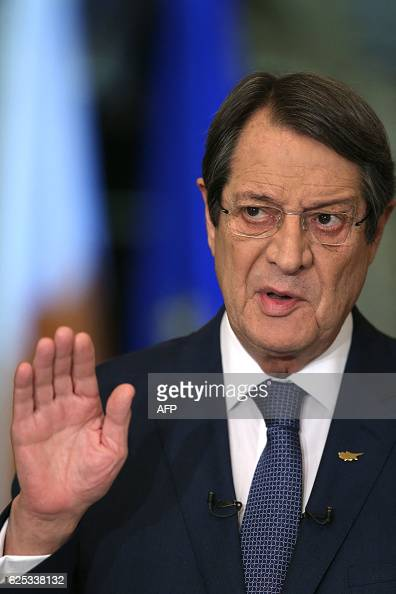 Cyprus President Nicos Anastasiades speaks during a nationally televised news conference at the presidential palace in Nicosia on November 23 2016...
