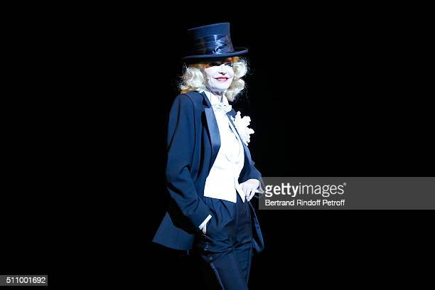 Cyrielle Clair performs in 'Le Retour De Marlene Dietrich' Theater Play at Espace Pierre Cardin on February 17 2016 in Paris France