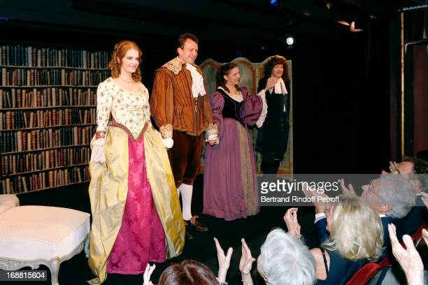 Cyrielle Clair Sylvain Clama Pauline Macia and Sacha Petronijevic on stage after 'Ninon Lenclos ou La Liberte' Theater Play on May 15 2013 in Paris...