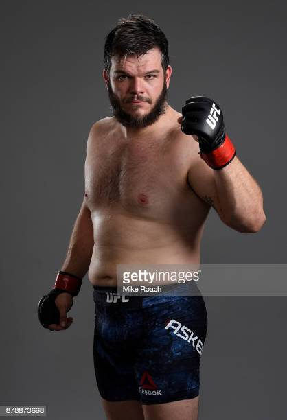 Cyril Asker of France poses for a portrait backstage after his victory over Hu Yaozong during the UFC Fight Night event inside the MercedesBenz Arena...