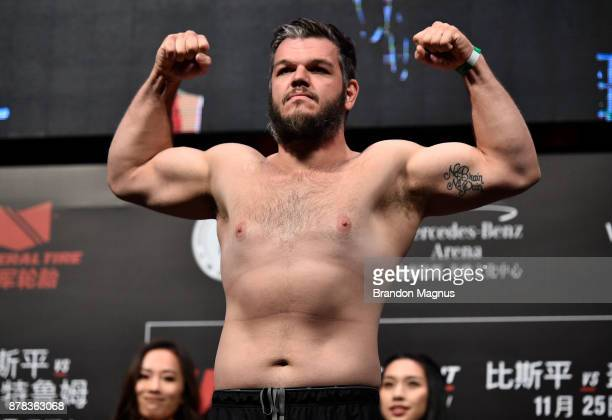Cyril Asker of France poses on the scale during the UFC Fight Night weighin on November 24 2017 in Shanghai China