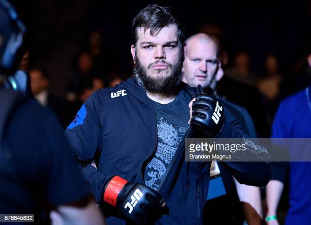 Cyril Asker of France prepares to enter the Octagon prior to his heavyweight bout against Hu Yaozong during the UFC Fight Night event inside the...