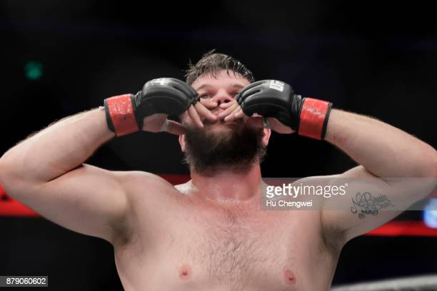 Cyril Asker reacts after his fight with Hu Yaozong during the UFC Fight Night at MercedesBenz Arena on November 25 2017 in Shanghai China