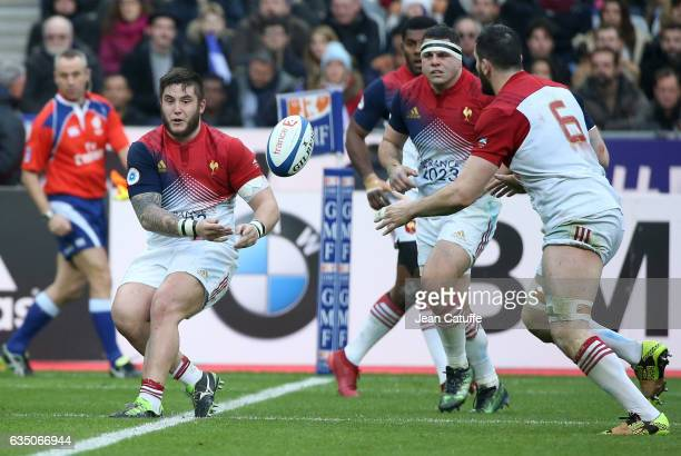 Cyril Baille of France in action with Guilhem Guirado Loann Goujon of France during the RBS 6 Nations tournament match between France and Scotland at...