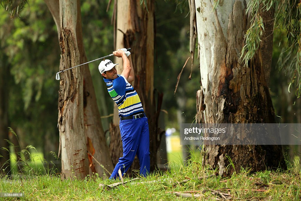 Cyril Bouniol of France plays from the trees on the 8th during the first round of the Trophee Hassan II at Royal Golf Dar Es Salam on May 5, 2016 in Rabat, Morocco.
