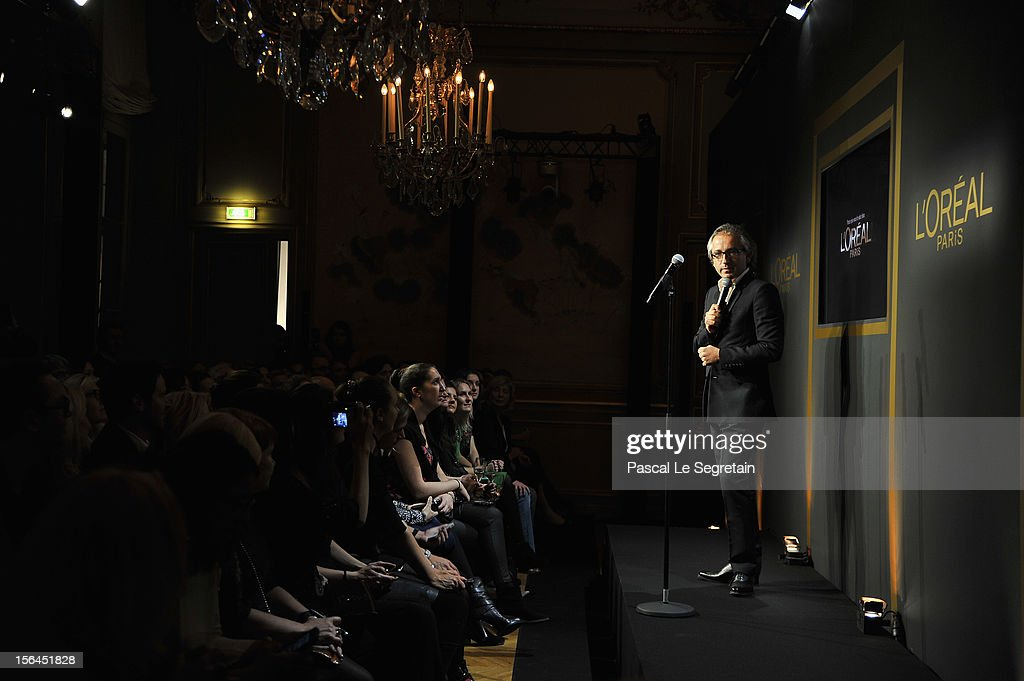 Cyril Chapuy gives a speech during the l'Oreal new egerie presentation at Hotel D'Evreux on November 15, 2012 in Paris, France.