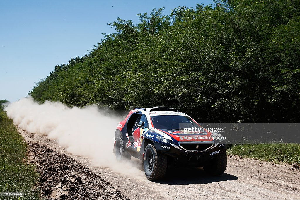 Cyril Despres and Giles Picard of Fance driving for team Peugeot Total 2008 DKR compete during day 1 of the Dakar Rallly on January 4 2015 between...