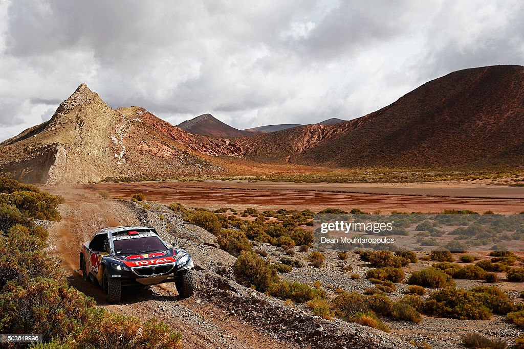 Cyril Despres of France and David Castera of France in the PEUGEOT 2008 DKR for TEAM PEUGEOT TOTAL compete on day 4 and the San Salvador de Jujuy...