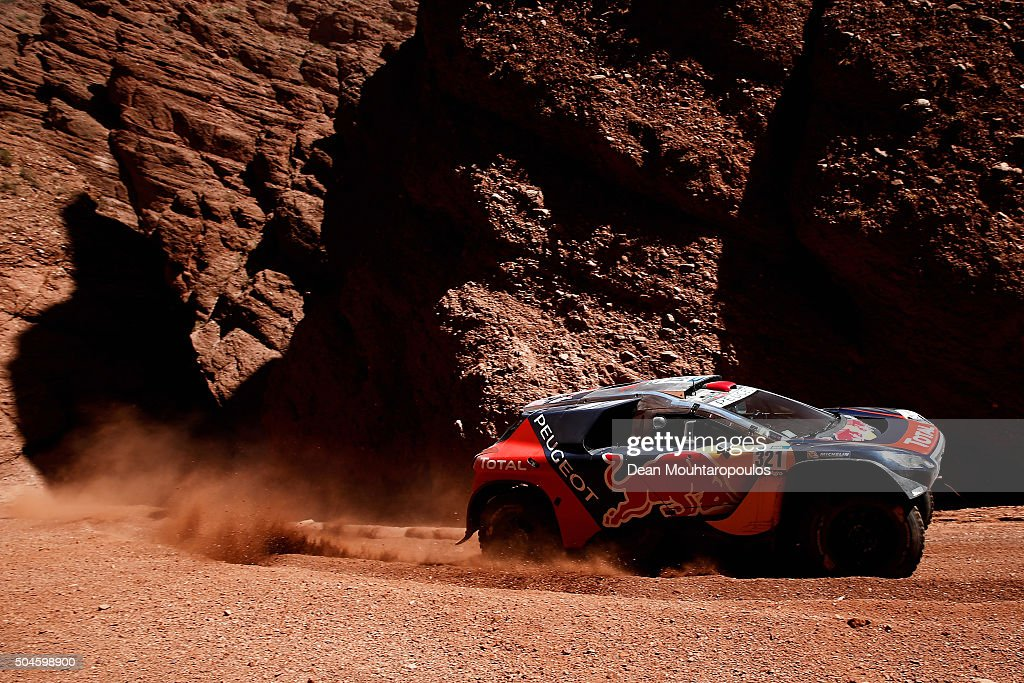 Cyril Despres of France and David Castera of France in the PEUGEOT 2008 DKR for TEAM PEUGEOT TOTAL compete on day 9 stage eight from Salta to Bellen...