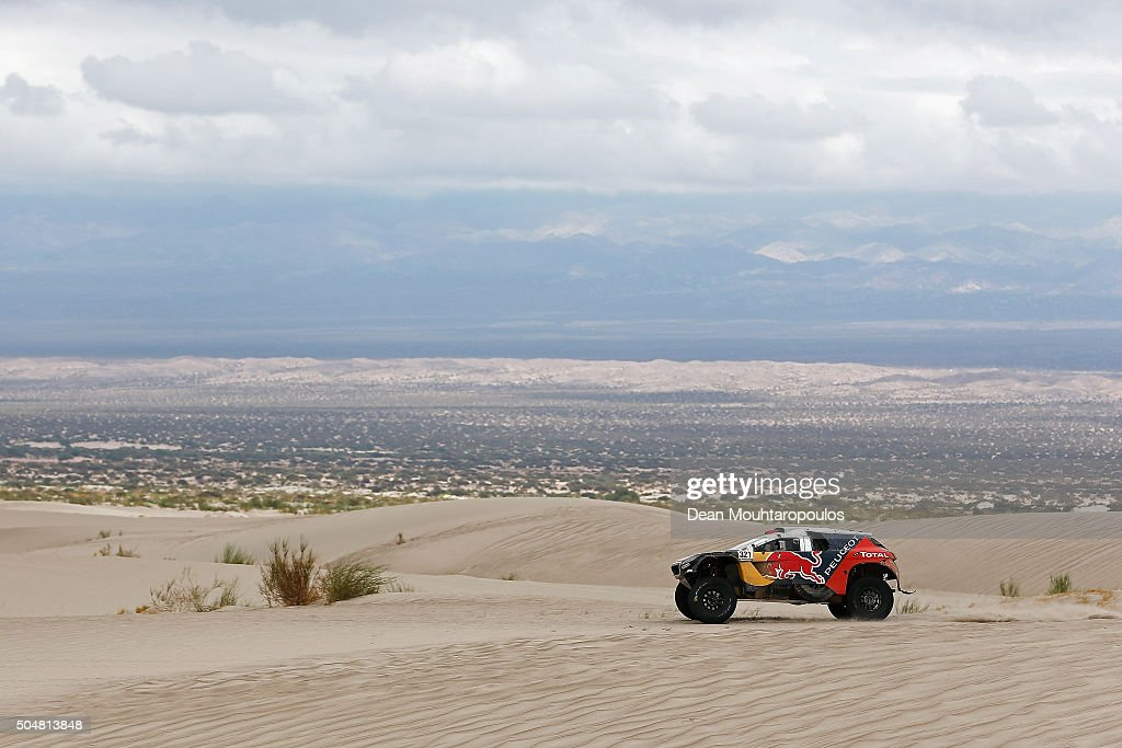 Cyril Despres of France and David Castera of France in the PEUGEOT 2008 DKR for TEAM PEUGEOT TOTAL compete on day 11 stage ten between Belen and La...