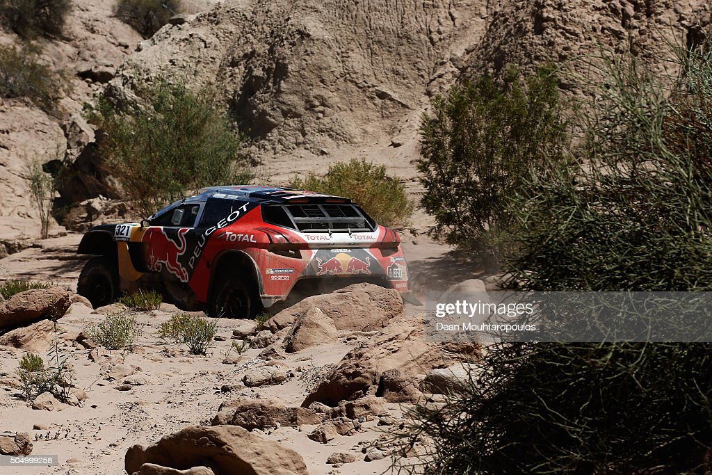 Cyril Despres of France and David Castera of France in the PEUGEOT 2008 DKR for TEAM PEUGEOT TOTAL compete on day 12 / stage eleven between La Rioja...