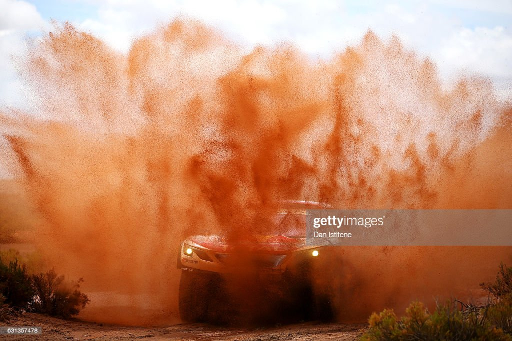 Cyril Despres of France and Peugeot Total drives with co-driver David Castera of France in the 3008 DKR Peugeot car in the Classe : T1.4 2 Roues Motrices, Diesel during stage seven of the 2017 Dakar Rally between La Paz and Uyuni on January 9, 2017 at an unspecified location in Bolivia.