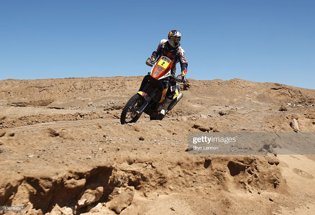 Cyril Despres of France and Team Red Bull KTM in action during stage ten of the 2012 Dakar Rally from Iquique to Arica on January 11 2012 in Arica...