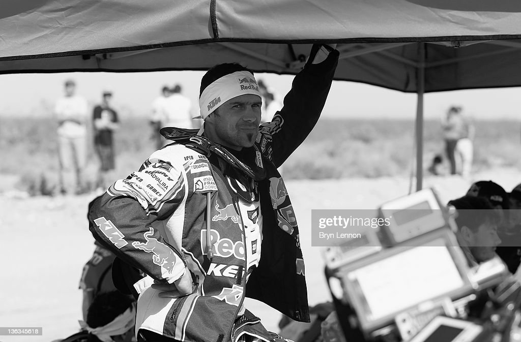 Cyril Despres of France and Team Red Bull KTM prepares for the start of stage two of the 2012 Dakar Rally from Santa Rosa to San Rafael on January 2...