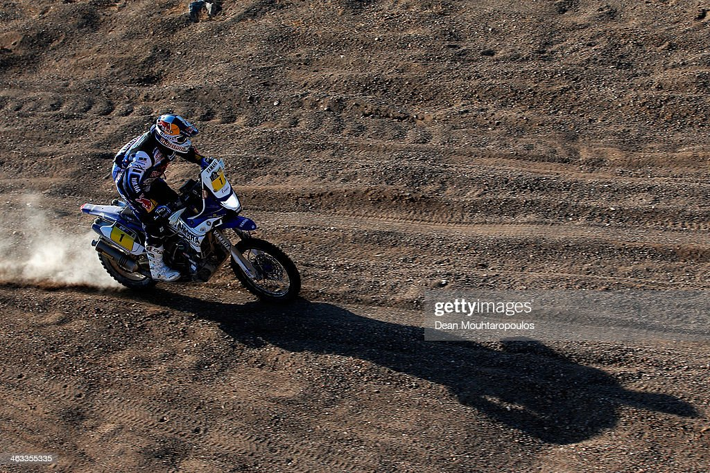 Cyril Despres of France for the Yamaha Factory Racing team compete in stage 12 on the way to La Serena during Day 13 of the 2014 Dakar Rally on...