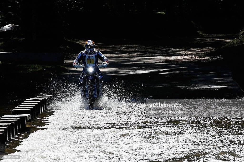 Cyril Despres of France for the Yamaha Factory Racing team competes on Day 1 of the Dakar Rally 2014 on January 5 2014 in Santa Rosa de Calamuchita...
