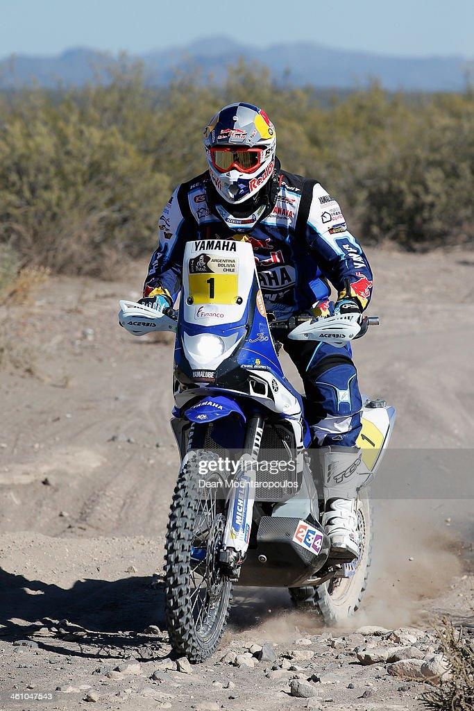 Cyril Despres of France for the Yamaha Factory Racing team competes on Day 2 of the Dakar Rally 2014 on January 6 2014 near the Dunes of Nihuil...