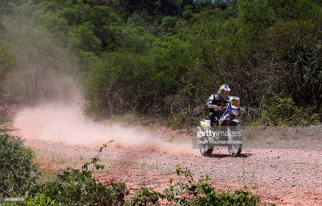 Cyril Despres of France for the Yamaha Factory Racing team competes during Day 6 of the 2014 Dakar Rally on January 10 2014 near Embalse Cabra Corral...