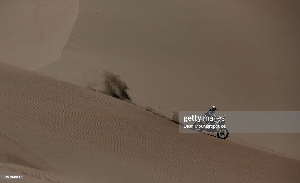 Cyril Despres of France for the Yamaha Factory Racing team competes in stage 9 during Day 10 of the 2014 Dakar Rally on January 14 2014 in Iquique...