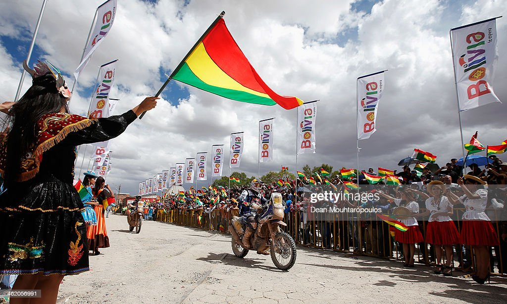 Cyril Despres of France for the Yamaha Factory Racing team makes his way to the podium during Day 8 of the 2014 Dakar Rally on January 12 2014 in...