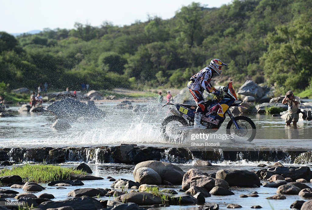 <a gi-track='captionPersonalityLinkClicked' href=/galleries/search?phrase=Cyril+Despres&family=editorial&specificpeople=2092881 ng-click='$event.stopPropagation()'>Cyril Despres</a> of KTM Red Bull Rally Factory Team competes in stage 10 from Cordoba to La Rioja during the 2013 Dakar Rally January 15, 2013 in Cordoba, Argentina.