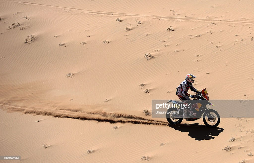 Cyril Despres of KTM Red Bull Rally Factory Team competes in stage 13 from Copiapo to La Serena during the 2013 Dakar Rally on January 18, 2013 in Copiapo, Argentina.
