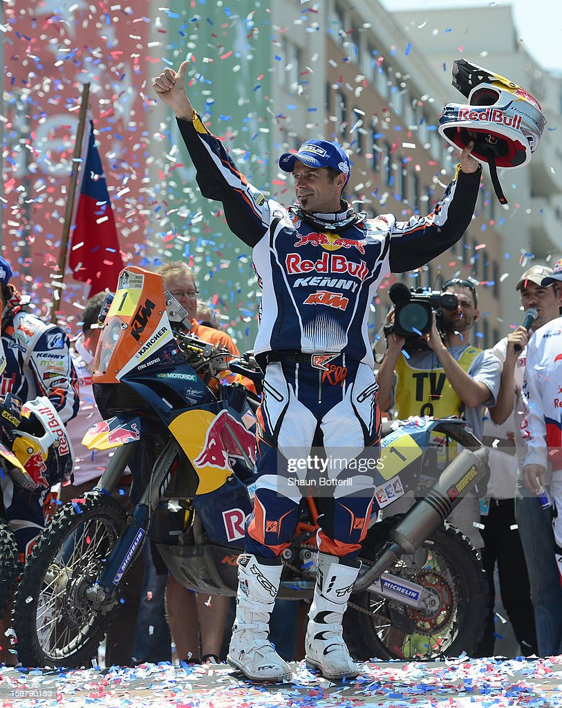 Cyril Despres of KTM Red Bull Rally Factory Team, first place in Motos, celebrates during the podium presentations at the end of the 2013 Dakar Rally on January 20, 2013 in Santiago, Chile.