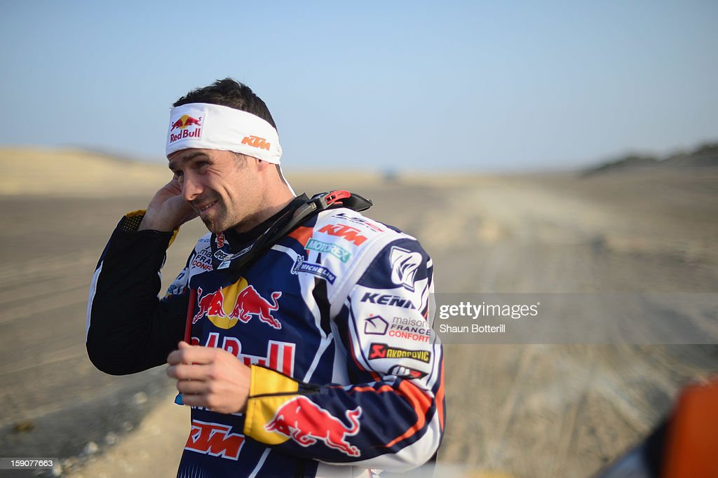 Cyril Despres of KTM Red Bull Rally Factory Team waits at the start of the stage from Pisco to Nazca on day three of the 2013 Dakar Rally on January...