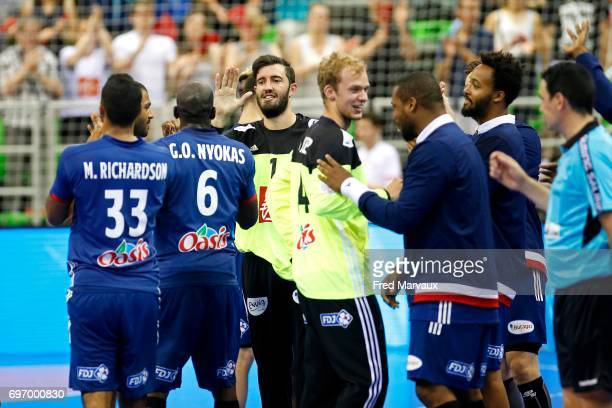 Cyril Dumoulin of France celebrates at the end of the game during the EHB Euro 2018 qualifying match between France and Belgium on June 17 2017 in...