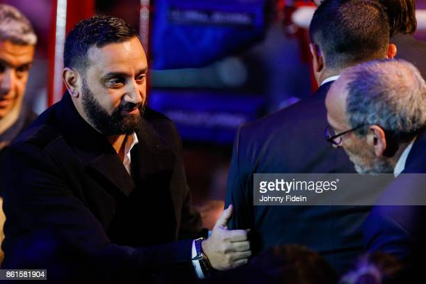 Cyril Hanouna and Thierry Cheleman sport director of Canal during the boxing event La Conquete at Zenith de Paris on October 14 2017 in Paris France